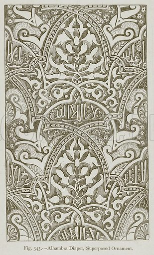 Alhambra Diaper, Superposed Ornament. Illustration for Historic Ornament by James Ward (Chapman and Hall, 1897).