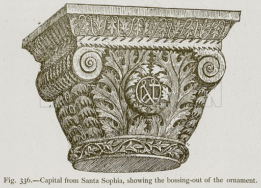 Capital from Santa Sophia, showing the Bossing-Out of the Ornament. Illustration for Historic Ornament by James Ward (Chapman and Hall, 1897).