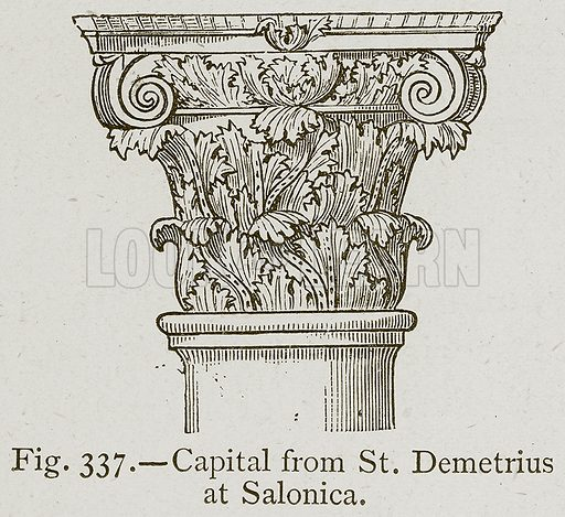 Capital from St Demetrius at Salonica. Illustration for Historic Ornament by James Ward (Chapman and Hall, 1897).