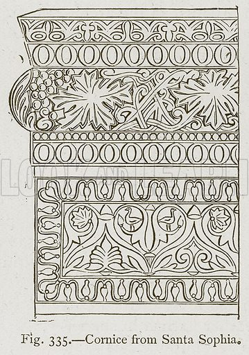 Cornice from Santa Sophia. Illustration for Historic Ornament by James Ward (Chapman and Hall, 1897).