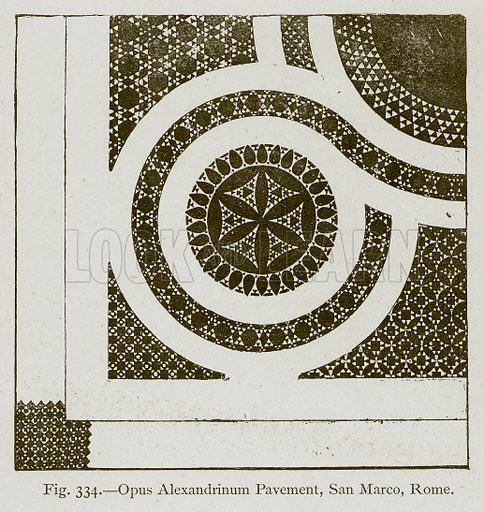 Opus Alexandrinum Pavement, San Marco, Rome. Illustration for Historic Ornament by James Ward (Chapman and Hall, 1897).