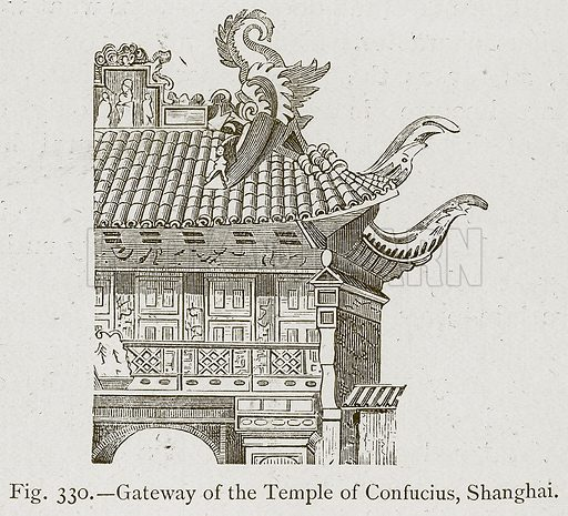 Gateway of the Temple of Confucius, Shanghai. Illustration for Historic Ornament by James Ward (Chapman and Hall, 1897).
