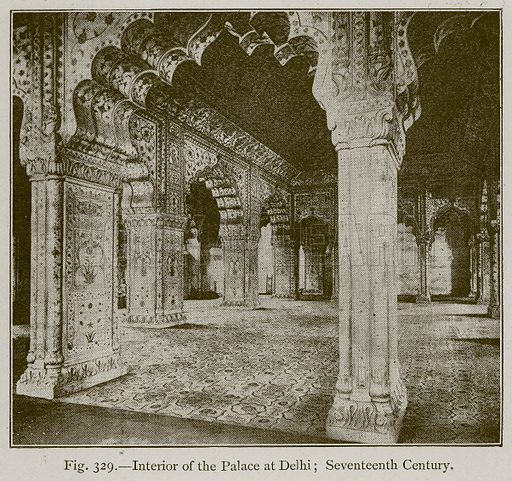 Interior of the Palace at Delhi; Seventeenth Century. Illustration for Historic Ornament by James Ward (Chapman and Hall, 1897).