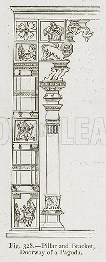 Pillar and Bracket, Doorway of a Pagoda. Illustration for Historic Ornament by James Ward (Chapman and Hall, 1897).