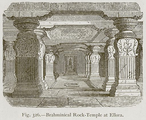 Brahminical Rock-Temple at Ellora. Illustration for Historic Ornament by James Ward (Chapman and Hall, 1897).