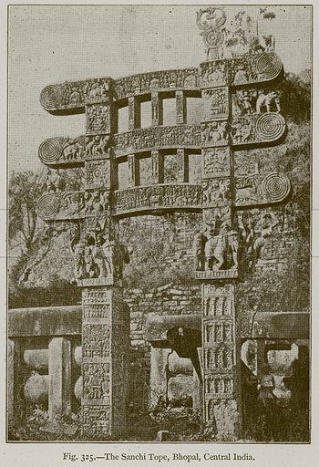 The Sanchi Tope, Bhopal, Central India. Illustration for Historic Ornament by James Ward (Chapman and Hall, 1897).