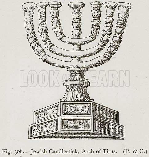 Jewish Candlestick, Arch of Titus. Illustration for Historic Ornament by James Ward (Chapman and Hall, 1897).