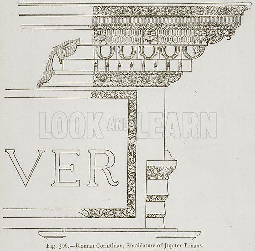 Roman Corinthian, Entablature of Jupiter Tonans. Illustration for Historic Ornament by James Ward (Chapman and Hall, 1897).