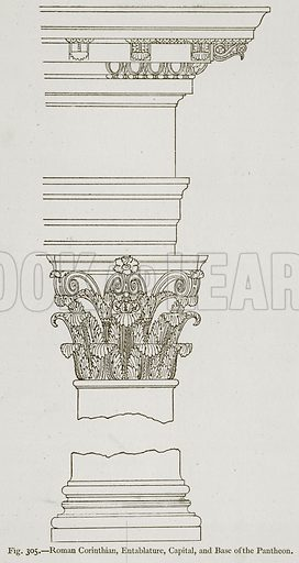 Roman Corinthian, Entablature, Capital, and Base of the Pantheon. Illustration for Historic Ornament by James Ward (Chapman and Hall, 1897).