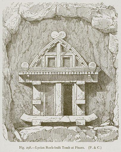 Lycian Rock-Built Tomb at Pinara. Illustration for Historic Ornament by James Ward (Chapman and Hall, 1897).