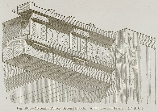 Mycenian Palace, Second Epoch. Architrave and Frieze. Illustration for Historic Ornament by James Ward (Chapman and Hall, 1897).