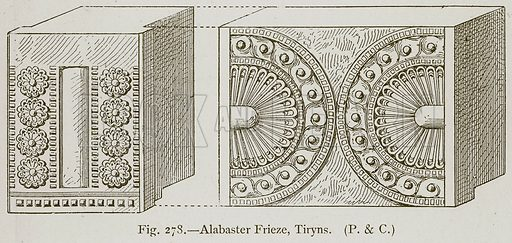 Albaster Frieze, Tiryns. Illustration for Historic Ornament by James Ward (Chapman and Hall, 1897).