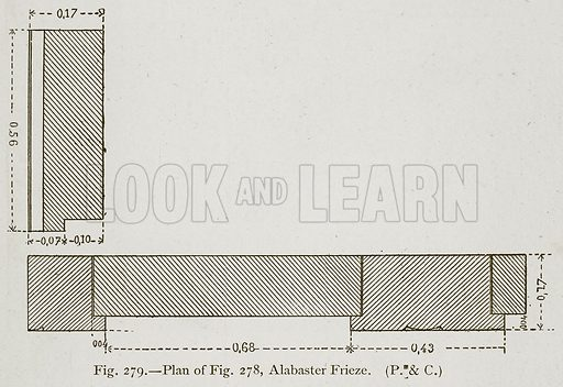 Plan of Fig. 278, Alabaster Frieze. Illustration for Historic Ornament by James Ward (Chapman and Hall, 1897).