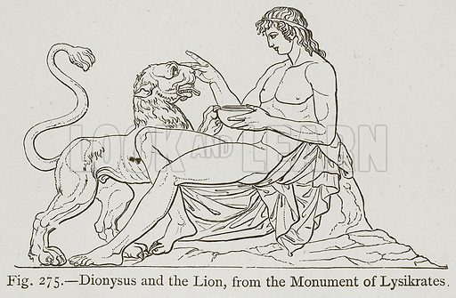 Dionysus and the Lion, from the Monument of Lysikrates. Illustration for Historic Ornament by James Ward (Chapman and Hall, 1897).