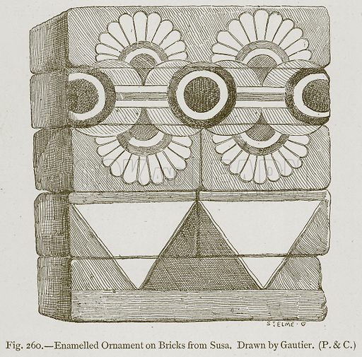 Enamelled Ornament on Bricks from Susa. Illustration for Historic Ornament by James Ward (Chapman and Hall, 1897).