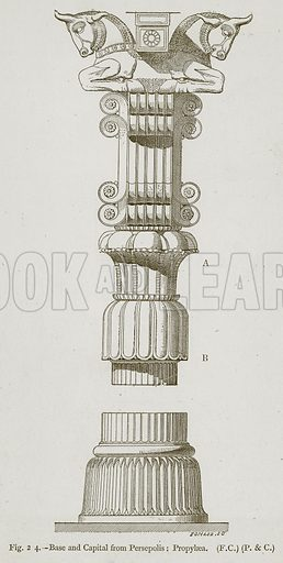 Base and Capital from Persepolis: Propylaea. Illustration for Historic Ornament by James Ward (Chapman and Hall, 1897).