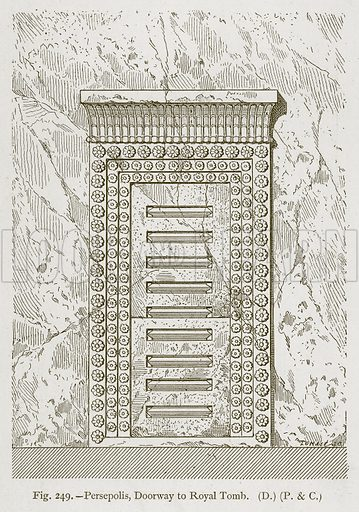 Persepolis, Doorway to Royal Tomb. Illustration for Historic Ornament by James Ward (Chapman and Hall, 1897).