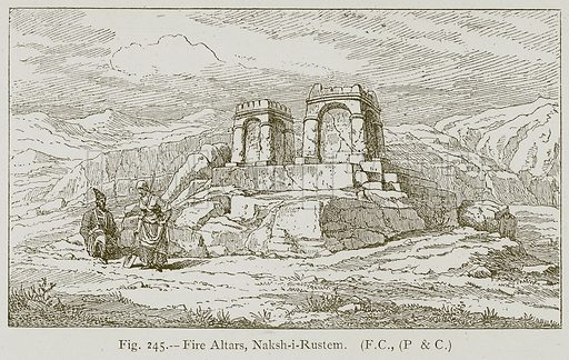 Fire Altars, Naksh-i-Rustem. Illustration for Historic Ornament by James Ward (Chapman and Hall, 1897).