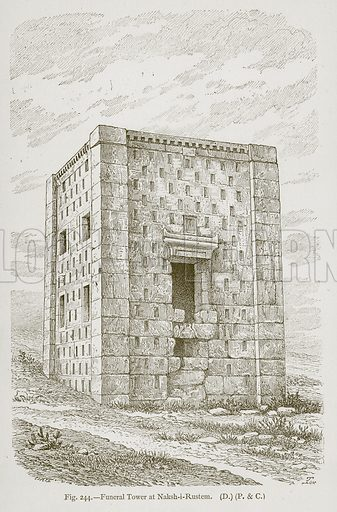 Funeral Tower at Naksh-i-Rustem. Illustration for Historic Ornament by James Ward (Chapman and Hall, 1897).