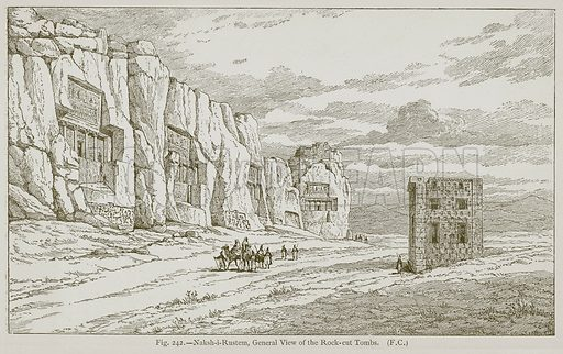 Naksh-i-Rustem, General View of the Rock-Cut Tombs. Illustration for Historic Ornament by James Ward (Chapman and Hall, 1897).