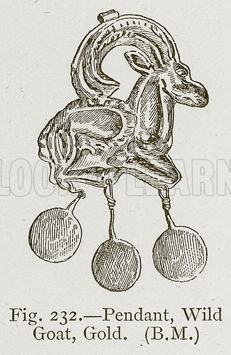 Pendant, Wild Goat, Gold. Illustration for Historic Ornament by James Ward (Chapman and Hall, 1897).