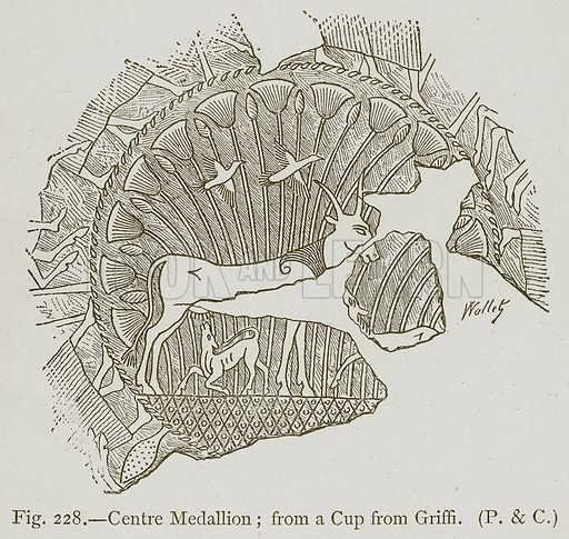 Centre Medallion; from a Cup from Griffi. Illustration for Historic Ornament by James Ward (Chapman and Hall, 1897).