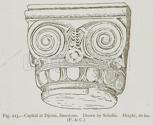 Capital at Djezza, Limestone. Illustration for Historic Ornament by James Ward (Chapman and Hall, 1897).