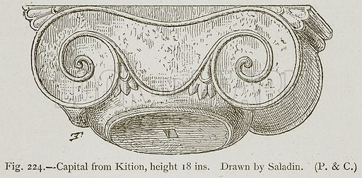 Capital from Kition, height 18 ins. Illustration for Historic Ornament by James Ward (Chapman and Hall, 1897).