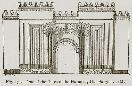 One of the Gates of the Harumat, Dur-Sarginu. Illustration for Historic Ornament by James Ward (Chapman and Hall, 1897).