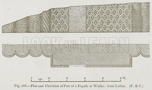 Plan and Elevation of Part of a Facade at Warka; from Loftus. Illustration for Historic Ornament by James Ward (Chapman and Hall, 1897).