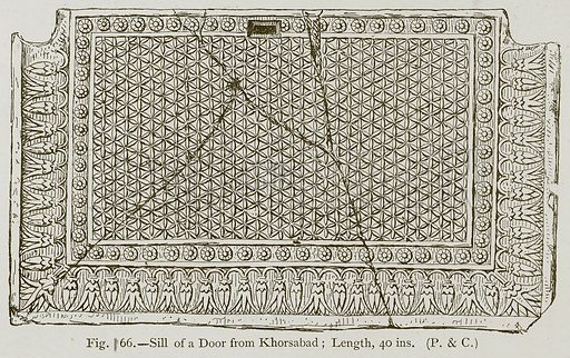 Sill of a Door from Khorsabad; Length, 40 ins. Illustration for Historic Ornament by James Ward (Chapman and Hall, 1897).