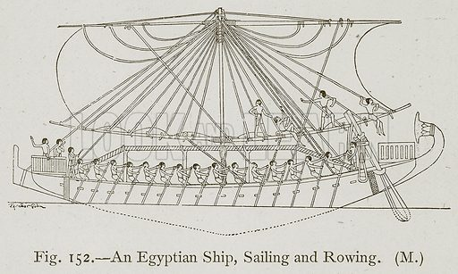 An Egyptian Ship, Sailing and Rowing. Illustration for Historic Ornament by James Ward (Chapman and Hall, 1897).