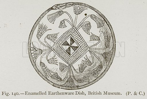 Enamelled Earthenware Dish, British Museum. Illustration for Historic Ornament by James Ward (Chapman and Hall, 1897).