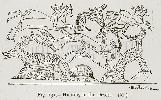 Hunting in the Desert. Illustration for Historic Ornament by James Ward (Chapman and Hall, 1897).
