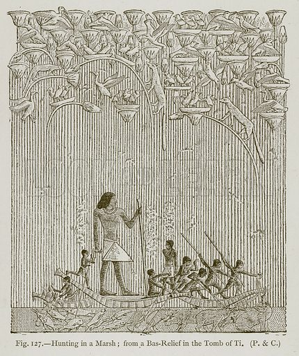 Hunting in a Marsh; from a Bas-Relief in the Tomb of Ti. Illustration for Historic Ornament by James Ward (Chapman and Hall, 1897).