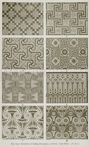 Specimens of Ceiling Decoration at Thebes; from Prisse. Illustration for Historic Ornament by James Ward (Chapman and Hall, 1897).