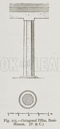 Octagonal Pillar, Beni-Hassan. Illustration for Historic Ornament by James Ward (Chapman and Hall, 1897).