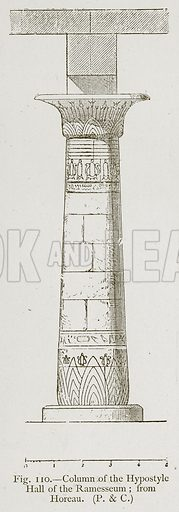 Column of the Hypostyle Hall of the Ramesseum, from Horeau. Illustration for Historic Ornament by James Ward (Chapman and Hall, 1897).