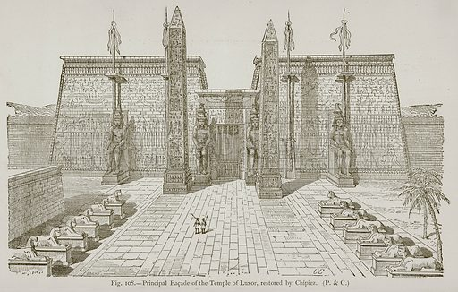 Principal Facade of the Temple of Luxor, restored by Chipiez. Illustration for Historic Ornament by James Ward (Chapman and Hall, 1897).