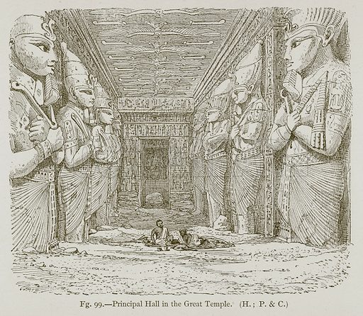 Principal Hall in the Great Temple. Illustration for Historic Ornament by James Ward (Chapman and Hall, 1897).