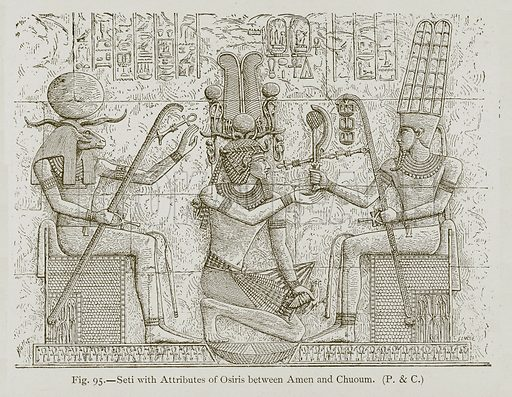 Seti with Attributes of Osiris between Amen and Chuoum. Illustration for Historic Ornament by James Ward (Chapman and Hall, 1897).