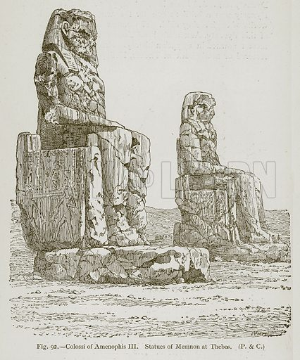 Colossi of Amenophis III Statues of Memnon at Thebes. Illustration for Historic Ornament by James Ward (Chapman and Hall, 1897).