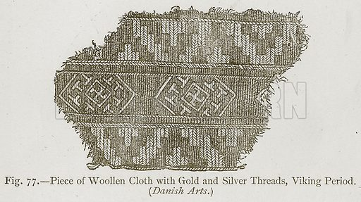 Piece of Woollen Cloth with Gold and Silver Threads, Viking Period. Illustration for Historic Ornament by James Ward (Chapman and Hall, 1897).