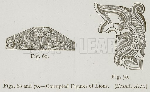 Corrupted Figures of Lions. Illustration for Historic Ornament by James Ward (Chapman and Hall, 1897).