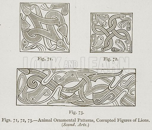 Animal Ornamental Patterns, Corrupted Figures of Lions. Illustration for Historic Ornament by James Ward (Chapman and Hall, 1897).
