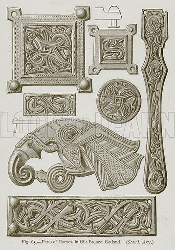 Parts of Harness in Gilt Bronze, Gotland. Illustration for Historic Ornament by James Ward (Chapman and Hall, 1897).