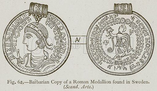 Barbarian Copy of a Roman Medallion found in Sweden. Illustration for Historic Ornament by James Ward (Chapman and Hall, 1897).