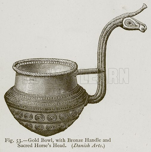 Gold Bowl, with Bronze Handle and Sacred Horse's Head. Illustration for Historic Ornament by James Ward (Chapman and Hall, 1897).