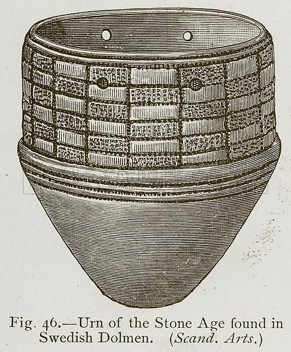 Urn of the Stone Age found in Swedish Dolmen. Illustration for Historic Ornament by James Ward (Chapman and Hall, 1897).