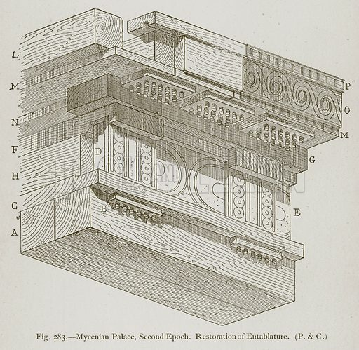 Mycenian Palace, Second Epoch. Restoration of Entablature. Illustration for Historic Ornament by James Ward (Chapman and Hall, 1897).